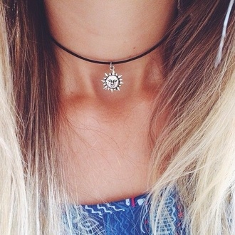 jewels necklace sun choker necklace blonde hair moon leather silver sun necklace black cute small black choker silver necklace black neckalce summer tumblr tumblr outfit grunge silver jewelry jewelry