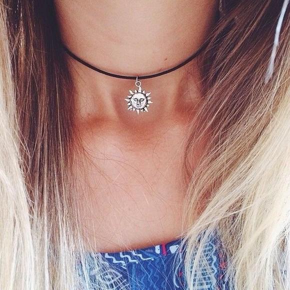 jewels sun necklace choker necklace sun necklace