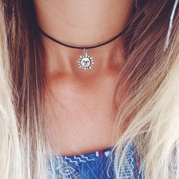 jewels necklace sun choker necklace blonde hair blonde hair moon leather silver sun necklace black cute small black choker silver necklace black neckalce summer tumblr tumblr outfit grunge silver jewelry jewelry