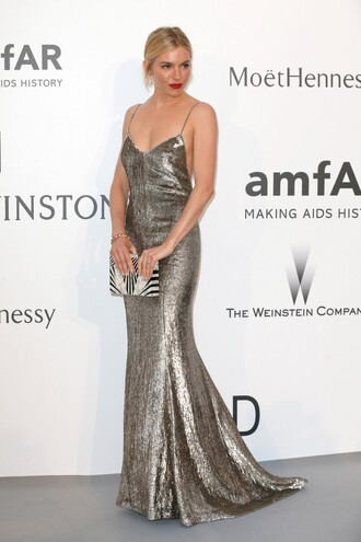 dress gown red carpet cannes sienna miller prom dress metallic