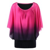 top,t-shirt,plus size t-shirt,ombre,ombre t-shirt,pink,plus size,butterfly sleeve