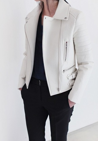 jacket white jacket leather jacket white leather jacket classy casual