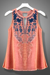 tank top,coral,navy,embroidered,ombre,key hole,halter neck