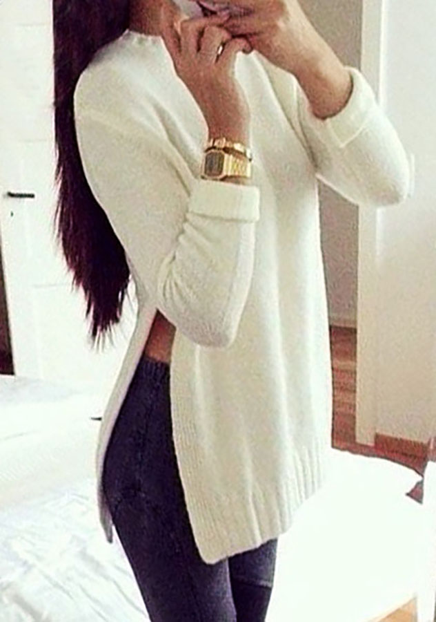 Side Slit Casual Fall Sweater