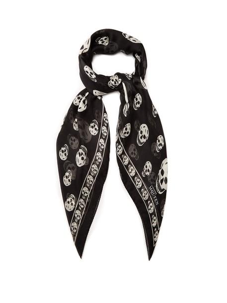 Alexander Mcqueen skull chiffon scarf print silk black