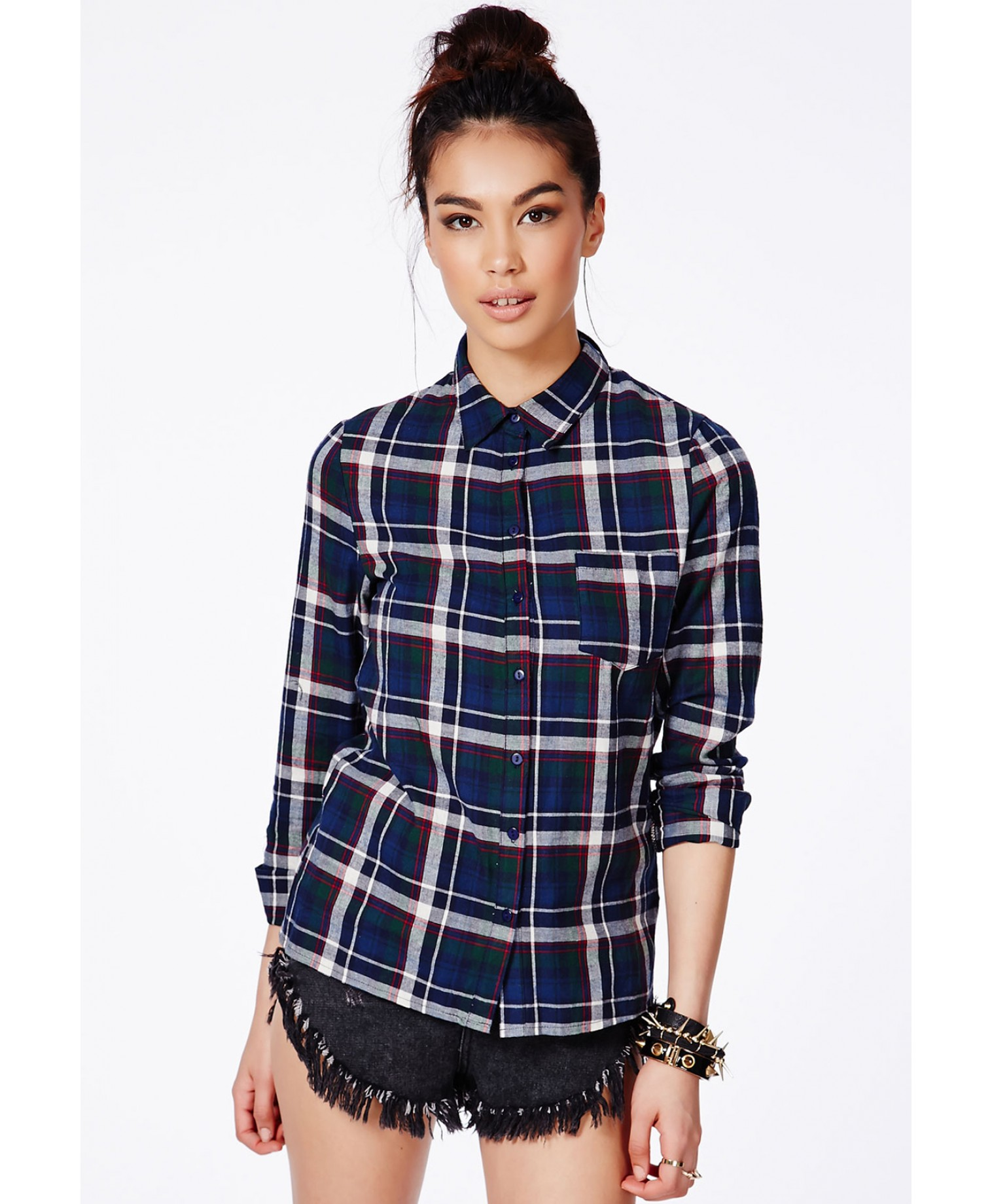 Missguided - Tolitka Green Tartan Shirt