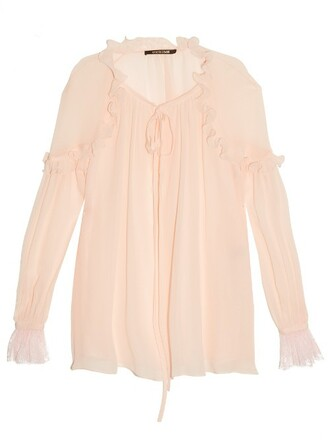 blouse ruffle silk light pink light pink top