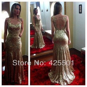Aliexpress.com : Buy 2014 New Fashion Designer Best Selling Noble Gold Sequin Dress Sexy Sheath Prom Party Dresses Long Evening Dress Women from Reliable dresses denim suppliers on Hand In Hand With Romantic