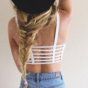 top,bikini,summer,white,stripes,girl,tanned,bikini top,beach,hair,shirt,crop,crop tops,love,fashion,clothes,straps,t-strap,brallete top,white crop tops,tank top,caged back,white top,white rop top,caged top,underwear
