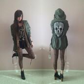 jacket,skull,army green,lace
