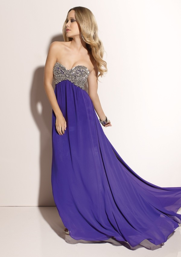 A Line Strapless Chiffon Sweetheart beaded Floor length Prom Dress P1586