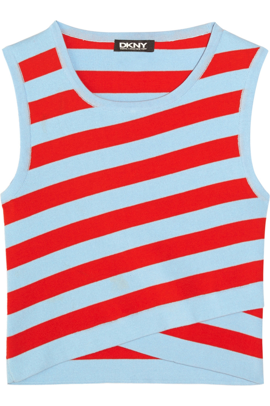 DKNY Cropped striped stretch cotton-blend top – 55% at THE OUTNET.COM