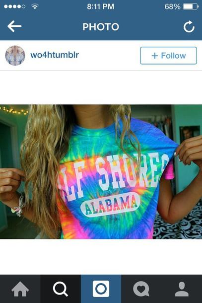 shirt colorful shirt cute tye die tie dye