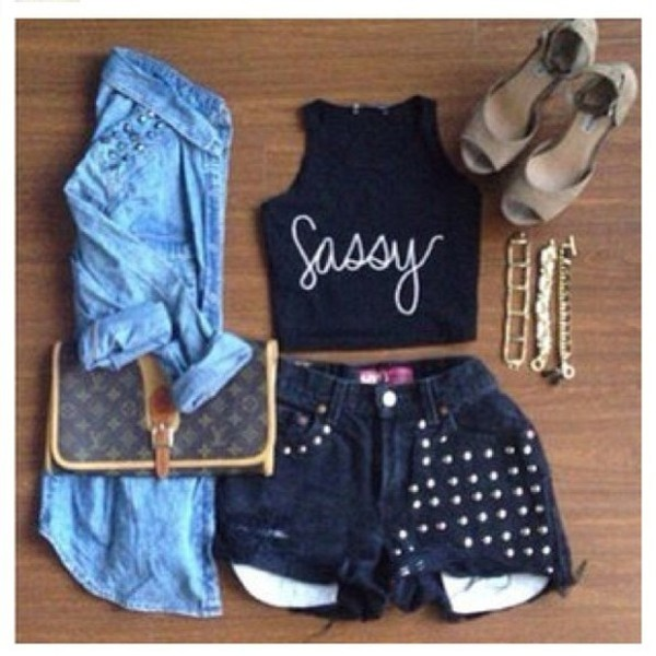 tank top denim jacket chain necklace sassy crop tops studded denim shorts