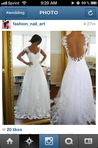c0aa2a545d4 dress wedding clothes wedding dress white chiffon lace open back sweetheart  neckline