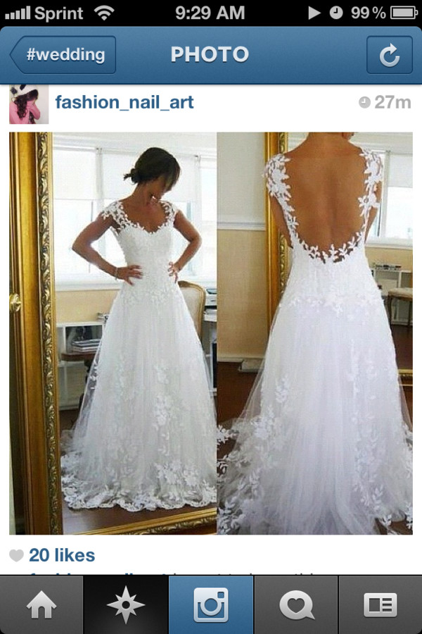 dress wedding clothes wedding dress white chiffon lace open back sweetheart neckline
