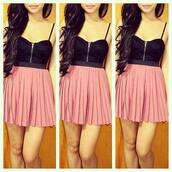dress,pink black,black and pink,sexy dress,sexy,mini dress,tank top,skirt,clothes,pink dress,pink,baby pink,bustier,bustier dress,corset dress,pleated,pleated dress,short dress