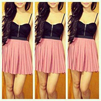 dress pink black black and pink sexy dress sexy mini dress tank top skirt clothes pink dress pink baby pink bustier bustier dress corset dress pleated pleated dress short dress