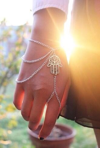 jewels hippie boho bracelets bracelet chains ring jewelry bracelets hamsa hand accessories top