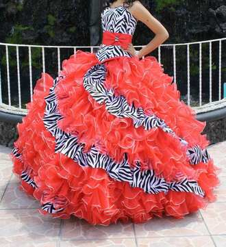 dress zebra orange dress quinceañera quinceanera dress bow prom prom dress homecoming homecoming dress puffy