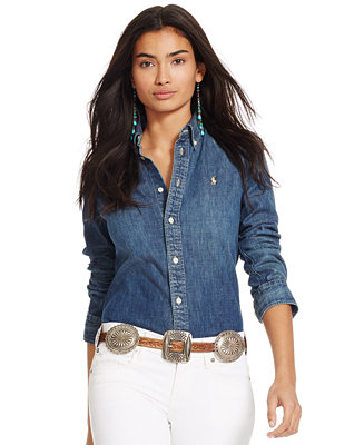 8d7e71137f Polo Ralph Lauren Custom-Fit Denim Shirt - Tops - Women - Macy s