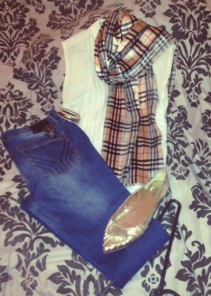 shoes burberry scarf white blouse jeans armani gold