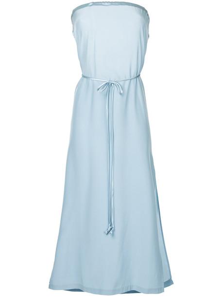 Kacey Devlin dress midi dress strapless women midi blue silk