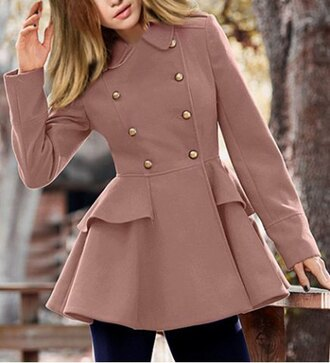 coat buttons gold fashion style pink brown casual fall outfits cute girly winter outfits stylish trendy elegant long sleeves clothes