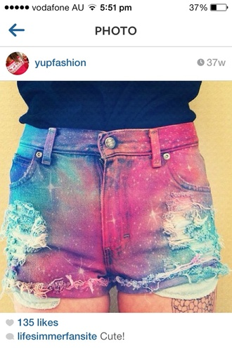 shorts galaxy shorts high waisted shorts galaxy print