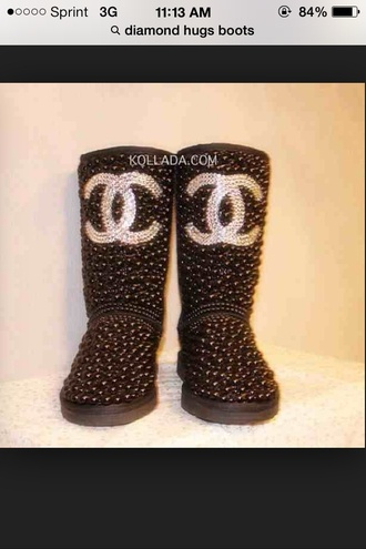 chanel ugg boots diamonds glitter
