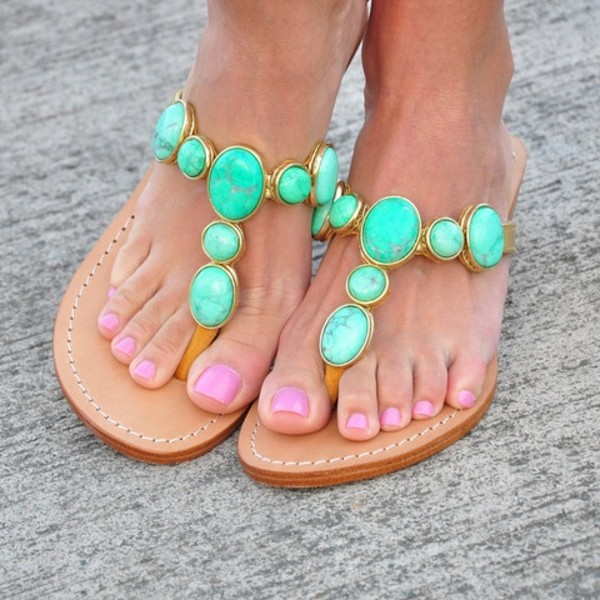 shoes turquoise sandals summer flat sandals mint stone leather brown shoes slippers sandals turquoise stone