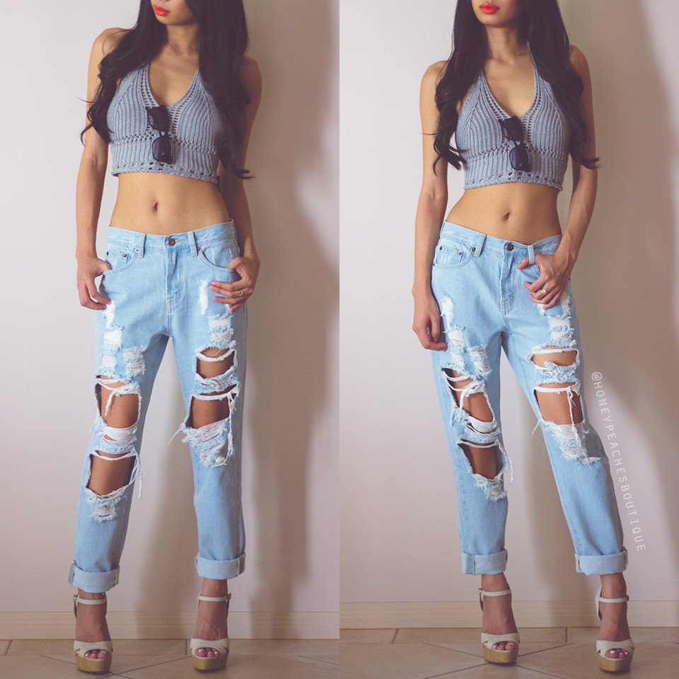 Walk it out ripped jeans – honey peaches