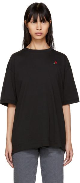 t-shirt shirt t-shirt embroidered rose black top