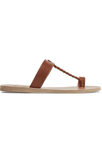 braided sandals leather sandals leather brown shoes