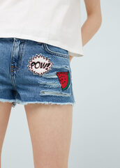 shorts,denim shorts,embroidered,watermelon print,pop art,distressed denim shorts,ripped shorts,patch,patched denim