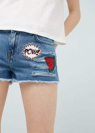shorts denim shorts embroidered watermelon print pop art distressed denim shorts ripped shorts patch