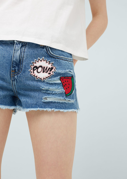 shorts denim shorts embroidered watermelon print pop art distressed denim shorts ripped shorts patch patched denim
