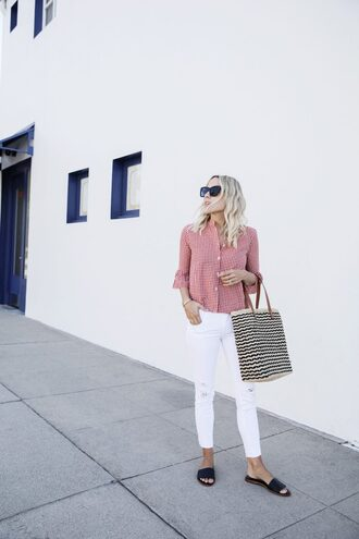 shirt tumblr gingham red shirt denim jeans white jeans skinny jeans bag tote bag shoes slide shoes