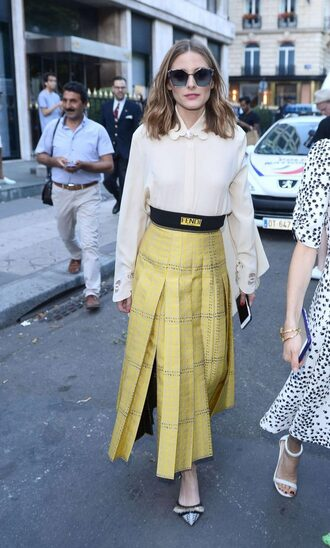 skirt midi skirt yellow blouse top shirt olivia palermo blogger streetstyle fashion week 2017 paris fashion week 2017