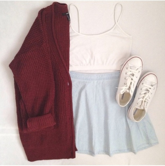 skirt blue skirt white crop tops converse knitted cardigan sweater autumn maroon sweater cozy sweater knitwear