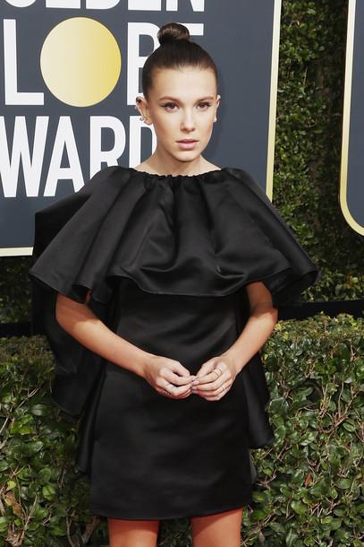 dress black dress millie bobby brown Golden Globes 2018 mini dress ruffle dress make-up hairstyles