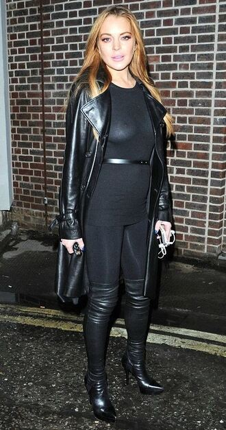 coat leather jacket lindsay lohan boots top leggings all black everything fall outfits