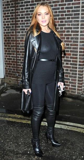 Lindsay Lohan Leather Jacket June 2017