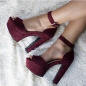 shoes,heels,red,red heels,cute,love,high heel sandals,gojane,burgundy,chunky heels,strappy heels,platform heels,wine,wine red,wine shoes,sexy shoes,high heels,sexy,party,sexy party shoes,wine red shoes,heel high highs,maroon heels,pink suede chunky open toe heels