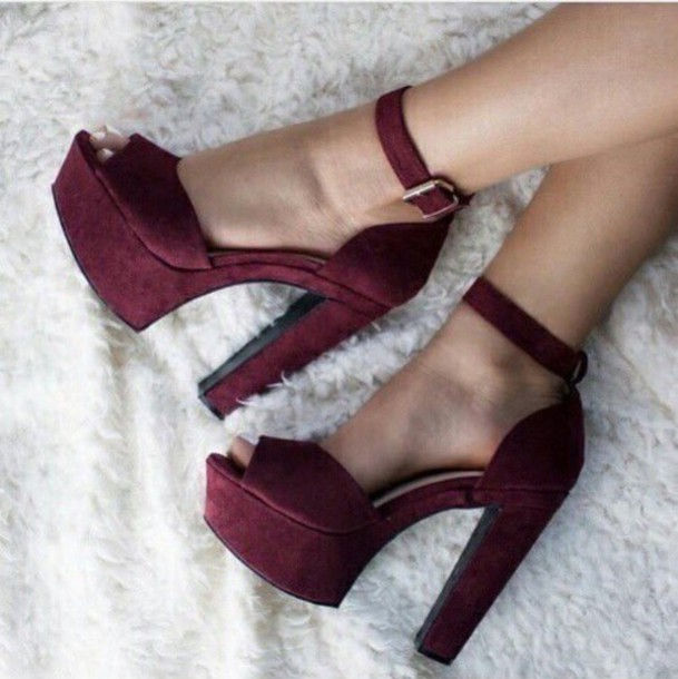 def74119a4 shoes heels red red heels cute love high heel sandals gojane burgundy chunky  heels strappy heels