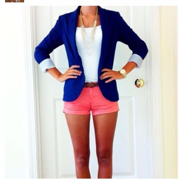 jacket blue blazer shorts