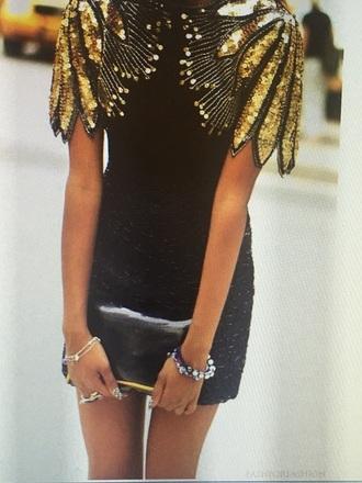 dress black/gold vintage dress