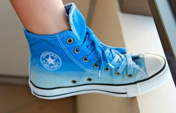 22aa73dc42b1 ... where to buy shoes converse blue cool allstar ombre bleach dye white  high top sneakers 5367f