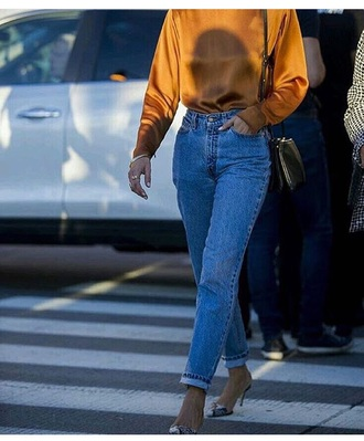 top camel shiny blue jeans levi strauss street style outfit idea chic classy beautiful silk satin