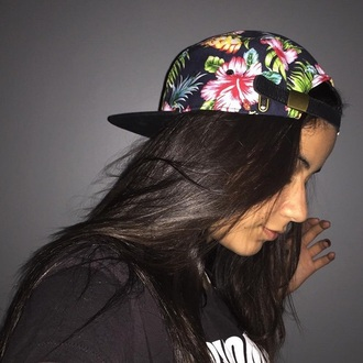 hat floral fashion style cap snapback beautiful flowers tropical